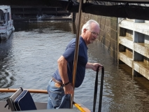 Paul getting ready to help in a lock