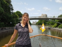 Cecelia on bow as we neared Ottawa