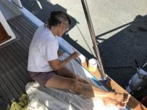 Paula painting toerail