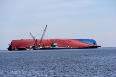 Golden Ray cargo ship on side