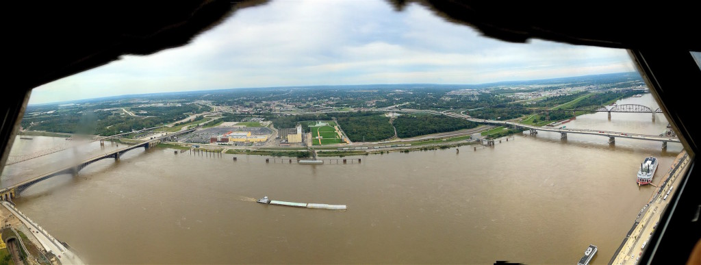 View east from the top of the arch