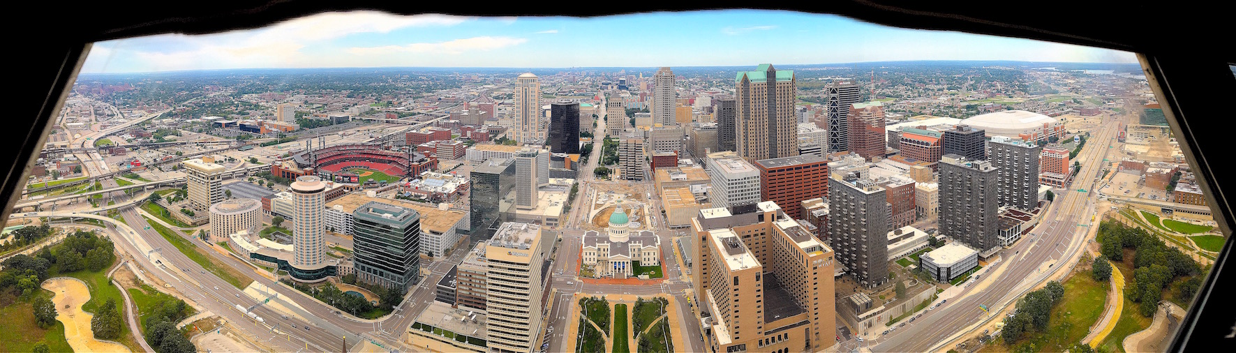 View west from top of St. Louis Arch