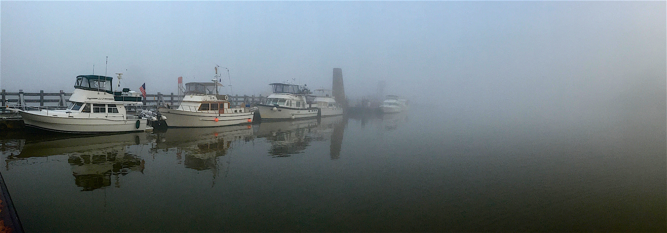Morning fog at Kaskaskia Lock wall